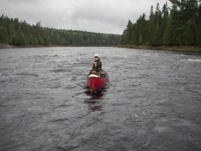 Mena in Priestly Rapids on the St. John River