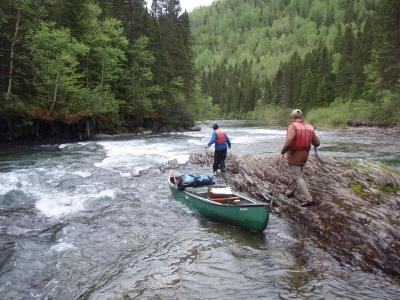 Chip and Lani lining on Bonaventure River