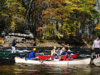 Boats congregate below Walkers Rips on the Saco River